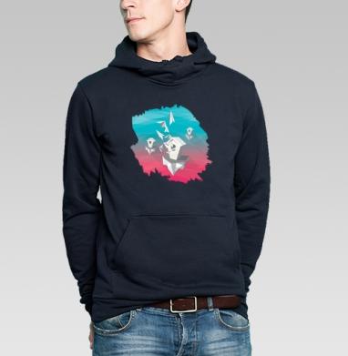 Толстовка мужская, накладной карман тёмно-синяя - Скворечник