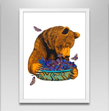 Гризли и бабочки - Постер в белой раме, жизнь
