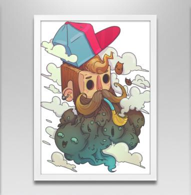Бородокотики - Постер в белой раме, борода
