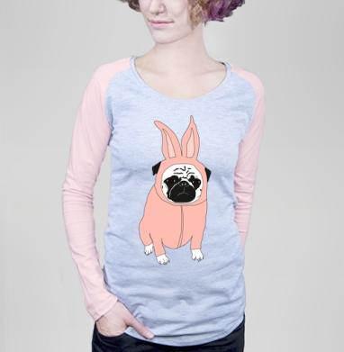 Мопс в костюме кролика - Футболки с длинным рукавом женские