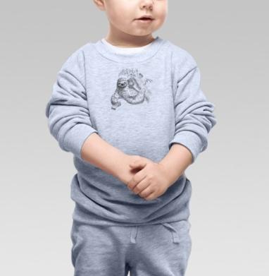 лень - двигатель прогресса, Cвитшот Детский серый меланж