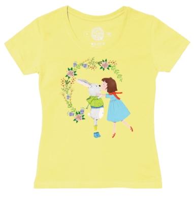 Футболка женская желтая - Поцелуйчик