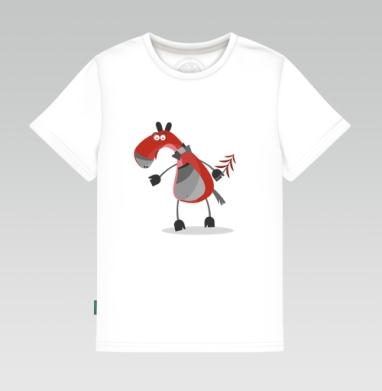 Детская футболка белая 160гр - конярик