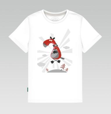 Детская футболка белая 160гр - летающий коник