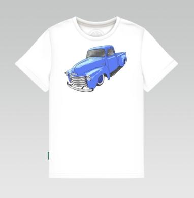 Детская футболка белая 160гр - Синий грузовичок