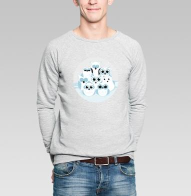 Зимние совы - Купить мужские свитшоты с птицами в Москве, цена мужских  с птицами  с прикольными принтами - магазин дизайнерской одежды MaryJane