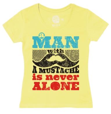 Футболка женская желтая - Мужик с усами - никогда не будет одиноким
