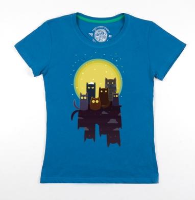 Футболка женская бирюзовая - Лунные коты