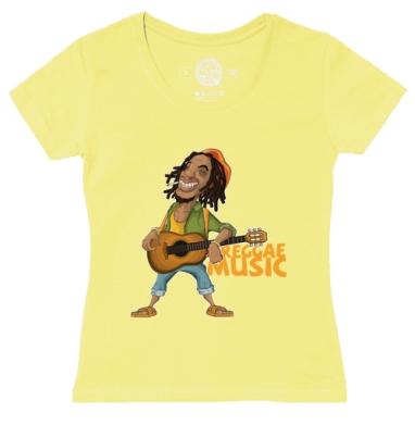 Футболка женская желтая - Reggae Artist - ямайка футболки