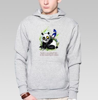 Анфиса и панда - Толстовка мужская, накладной карман серый меланж, Магазин футболок anfisa, Новинки