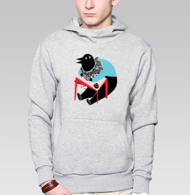 Coco tshirt, Толстовка мужская, накладной карман серый меланж