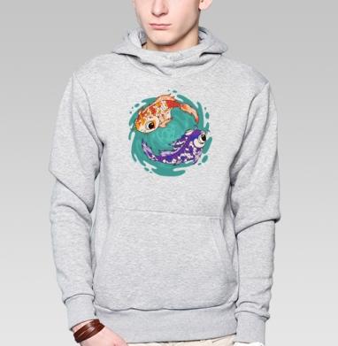 Кои - Толстовка серая с капюшоном, цвет