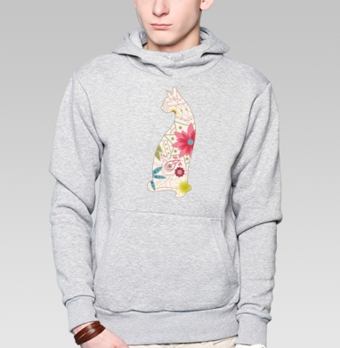 Кошка в винтажных цветах - Купить мужские толстовки модные в Москве, цена мужских  модных  с прикольными принтами - магазин дизайнерской одежды MaryJane