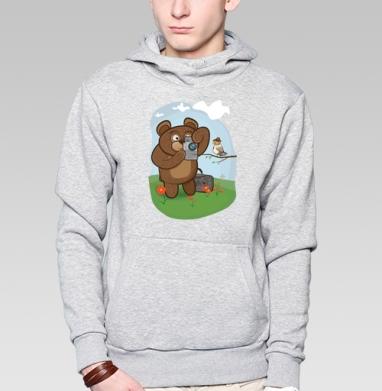 Медведь фотолюбитель  - Заказать толстовку Москва через интернет. Каталог принтов на толстовке Москва.