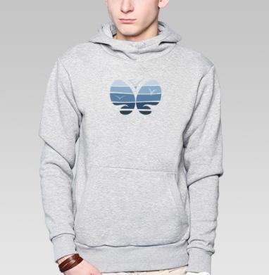 Толстовка мужская, накладной карман серый меланж - Морская бабочка