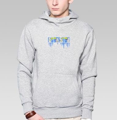 Толстовка мужская, накладной карман серый меланж - Снеговик