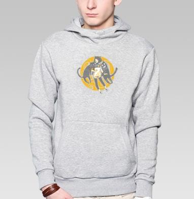 Street Cats, Толстовка мужская, накладной карман серый меланж