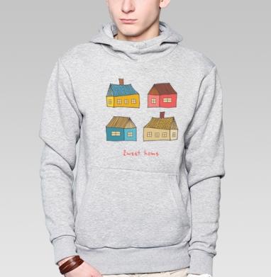 Толстовка мужская, накладной карман серый меланж - Sweet home