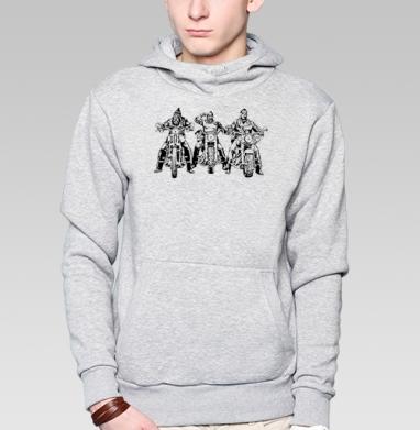 Три богатыря, Толстовка мужская, накладной карман серый меланж