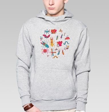 Веселые букашки - Толстовка серая с капюшоном, цвет