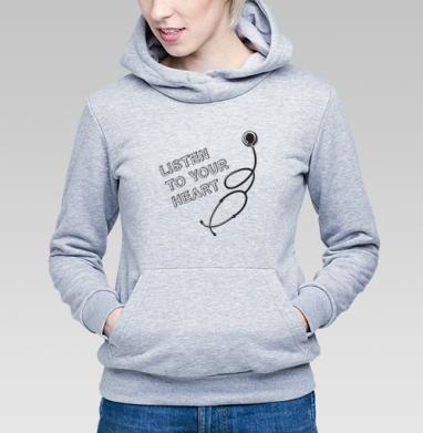 Listen To Your Heart - Купить детские толстовки с цитатами в Москве, цена детских толстовок с цитатами  с прикольными принтами - магазин дизайнерской одежды MaryJane