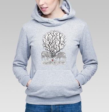 No forest - Толстовка Женская серый меланж 340гр, теплая, Купить толстовки победителей