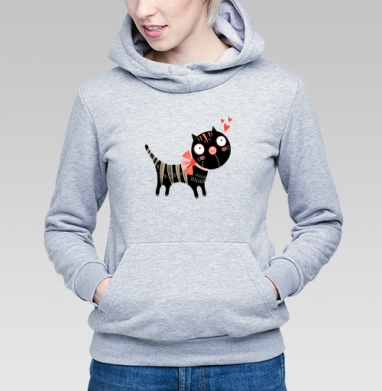 Толстовка Женская серый меланж - Влюблённые коты