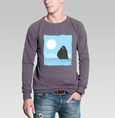 Свитшот мужской без капюшона тёмно-серый - Влюбленные пингвины