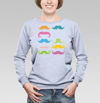 Cвитшот женский, толстовка без капюшона  серый меланж - Цветные усы