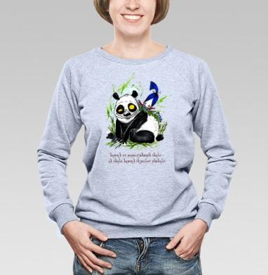 Анфиса и панда, Cвитшот женский, толстовка без капюшона  серый меланж