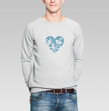 Свитшот мужской без капюшона серый меланж - Доброе сердце