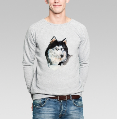 Голубоглазый хаски - Купить мужские свитшоты с волками в Москве, цена мужских свитшотов с волками  с прикольными принтами - магазин дизайнерской одежды MaryJane