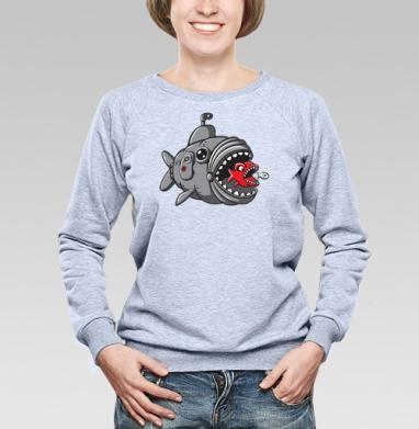 Подводная охота рыбалка , Cвитшот женский, толстовка без капюшона  серый меланж