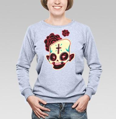 Сахарный череп - Купить женские свитшоты с роами в Москве, цена женских свитшотов с розой с прикольными принтами - магазин дизайнерской одежды MaryJane