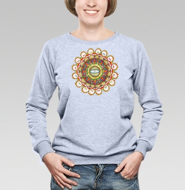 Sunflower mandala - Cвитшот женский, серый-меланж  320гр, стандарт, психоделика, Популярные