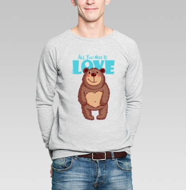 All You Need Is Love - Купить мужские свитшоты нежность в Москве, цена мужских  нежность  с прикольными принтами - магазин дизайнерской одежды MaryJane