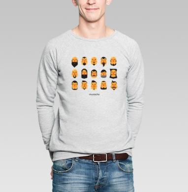 БОРОДА И УСЫ - Купить мужские свитшоты с усами в Москве, цена мужских свитшотов с усами  с прикольными принтами - магазин дизайнерской одежды MaryJane