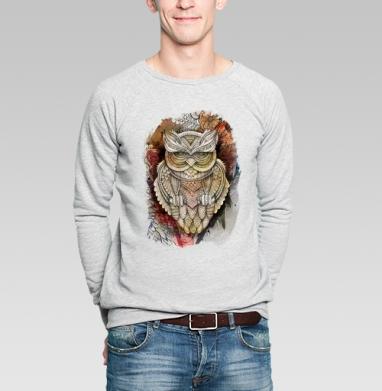 Doodle owl - Свитшот мужской без капюшона серый меланж, olkabalabolka, Новинки