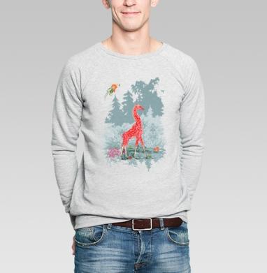 Жираф-мухомор в сказочном лесу - Купить мужские свитшоты со сказками в Москве, цена мужских свитшотов со сказками  с прикольными принтами - магазин дизайнерской одежды MaryJane