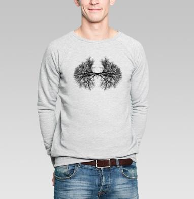 Lungrafic of existence - Свитшот мужской серый-меланж  320гр, стандарт, жизнь, Популярные