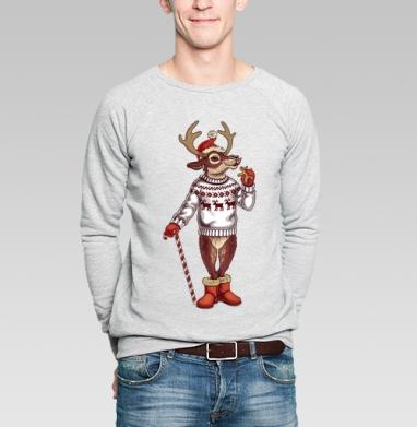 Олень санты - Купить мужские свитшоты Новый год в Москве, цена мужских свитшотов новогодних  с прикольными принтами - магазин дизайнерской одежды MaryJane
