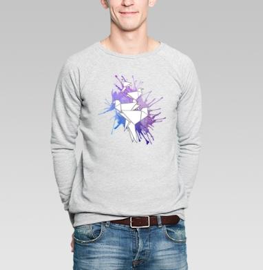 Origami bird - Купить мужские свитшоты с акварелью в Москве, цена мужских свитшотов с акварелью  с прикольными принтами - магазин дизайнерской одежды MaryJane