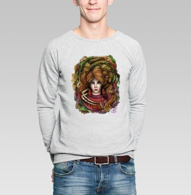 Рак - Свитшот мужской серый-меланж  320гр, стандарт, olkabalabolka