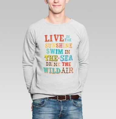 Sunshine, sea and air - Купить мужские свитшоты с солнцем в Москве, цена мужских свитшотов с солнцем  с прикольными принтами - магазин дизайнерской одежды MaryJane