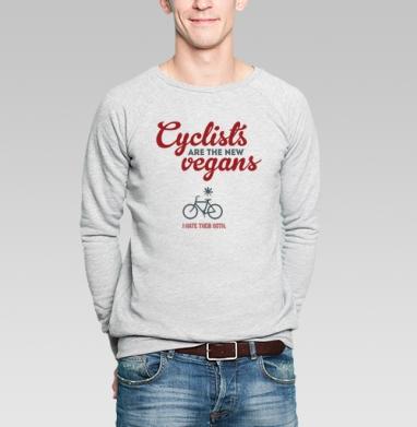 Велосипедисты - новые веганы - Купить мужские свитшоты с велосипедом в Москве, цена мужских  с велосипедом  с прикольными принтами - магазин дизайнерской одежды MaryJane