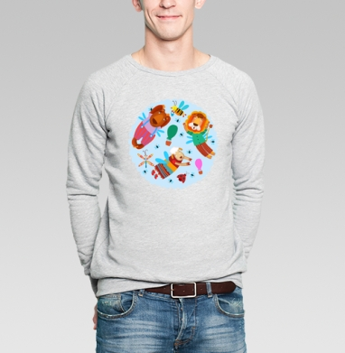 Воздушные звери - Купить мужские свитшоты с насекомыми в Москве, цена мужских  с насекомыми  с прикольными принтами - магазин дизайнерской одежды MaryJane