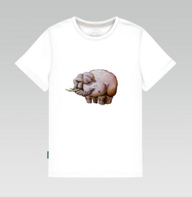 Детская футболка белая 160гр - Розовый слон