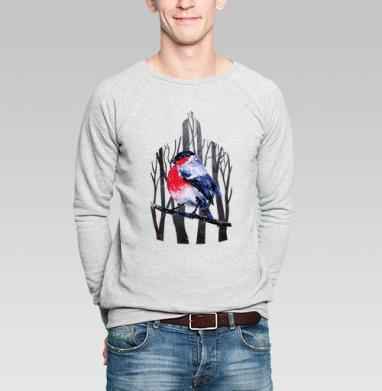 Снегирь на ветке - Купить мужские свитшоты с деревьями в Москве, цена мужских свитшотов с деревьями  с прикольными принтами - магазин дизайнерской одежды MaryJane
