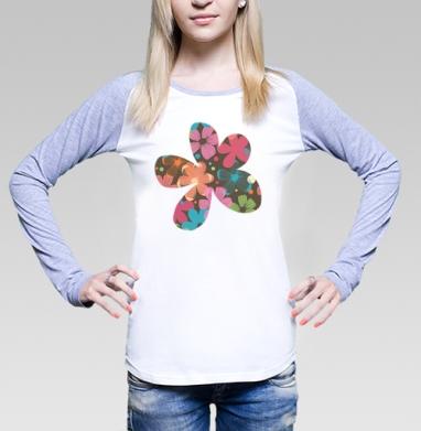 Футболка лонгслив женская бело-серая - Flowers petals