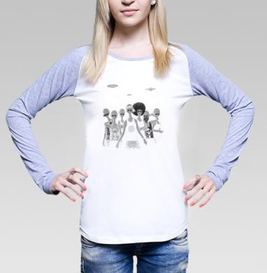 Футболка женская с длинным рукавом бело-серая - Гости